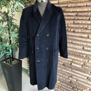 Navy Blue Mohair Vintage Double Breasted  Coat